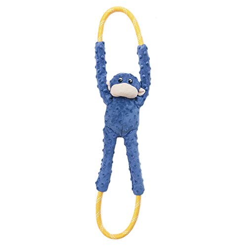 ZippyPaws - Monkey RopeTugz, Squeaky and Plush Rope Tug Dog Toy - Blue