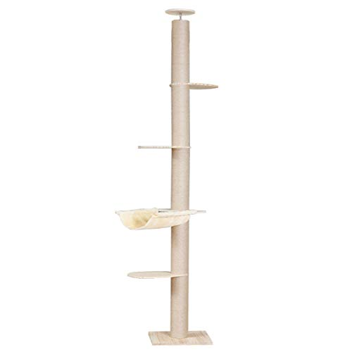 TAO 4 Tier Floor-to-Ceiling Cat Tree with Sisal Scratching Posts, 101'-104' Tall Cat Climbing Tree with Jump Platforms and Hammock