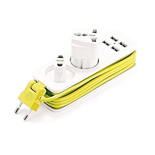 YLWL EU-Stecker Steckdosenleiste 4 USB-Port 2 Ladebuchse Mehrere tragbare Steckeradapter weiß+gelb 205 * 52 * 37mm