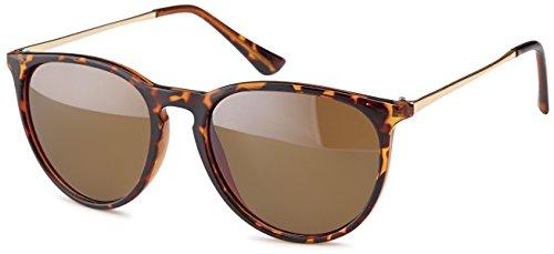 Vintage Sonnenbrille im angesagten 60er Style mit trendigen bronzefarbenden Metallbügeln Panto - Retro Brille (braun-leopard)