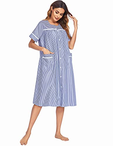 Ekouaer Women's Sleepwear Short Sleeve Lounge Robe with Button Front Closure (Navy,M)