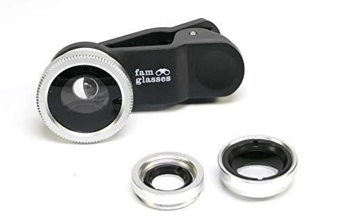 famglasses Handyobjektiv für alle Handys und Tablets 3 in 1 für Samsung, iPhone, Huawei, etc. schwarz, fisheye, Weitwinkel und Makro