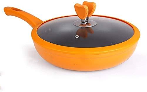Warmer Leche Pan Pot InduccióN Profesional Cacerola de acero con cacerola de vidrio con cubierta de vidrio sin desgaste sin humo sin humo 11 pulgadas freír pan frito huevos de aluminio aleación de alu