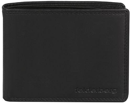 Ledergeldbörse mit viel Stauraum aus feinstem Kalbsleder, Modell 3728, Farbe:Schwarz