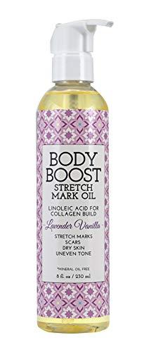 Body Boost Lavender Vanilla Stretch Mark Oil 8oz- Repair Stretch Marks and Scars- Pregnancy and Nursing Safe- Vegan-