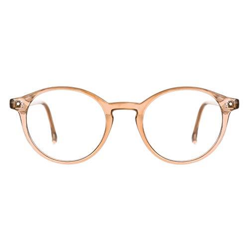 TIJN Blue Light Blocking Glasses Men Women Vintage Thick Round Rim Frame Eyeglasses (Burlywood)