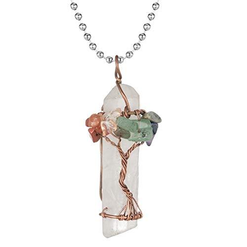 HOULAI Collar de péndulo de cristal natural crudo, envuelto en alambre de bronce, vida del árbol