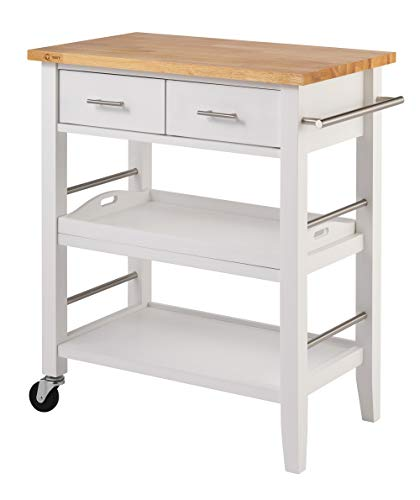 TRINITY Wood Kitchen Cart w/Drawers & Tray, White