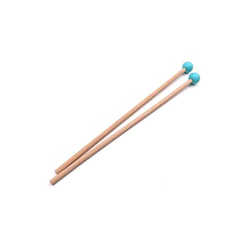 Liyafy 2PCS Marimba Sticks Xylophone Piano Hammer Rubber Mallet Percussion with Maple Handle - Blue Small
