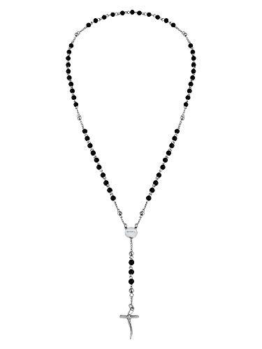 Breil - Collana da Uomo Collezione Code TJ2990 - Gioielli Uomo - Collana Uomo con Pietre in Onice e Croce in Acciaio - 63 cm