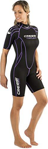 Cressi Tortuga Lady Wetsuit 2.5 mm - Shorty Neoprenanzug aus High Stretch Neopren für Frauen, Schwarz/Lila , M/3