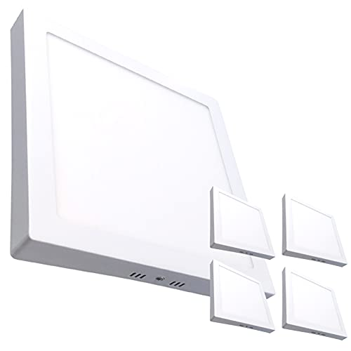 Pack 5x Plafon LED Cuadrado SUPERFICIE 20w. Color Blanco Frio (6500K). 1800 Lumenes.