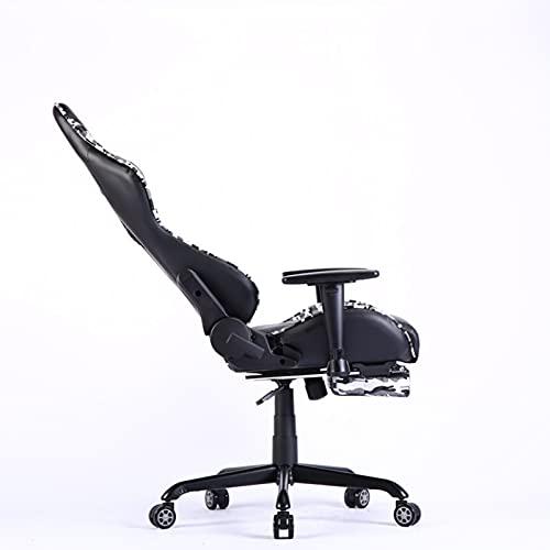 E-Sports, sedia ergonomica da ufficio, sedia da gioco con schienale alto girevole sedia da corsa in pelle PU con braccioli, supporto posteriore e poggiapiedi