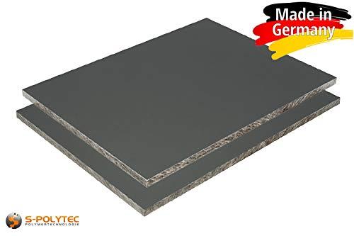 HPL Platte wetterfest | Fassadenplatte, Balkonplatte, Schichtstoffplatten | in 6mm, 8mm | weiß, silbergrau, anthrazit | VERSCHIEDENE FORMATE | TOP QUALITÄT MADE IN GERMANY (100 x 50cm, 6mm ANTHRAZIT)