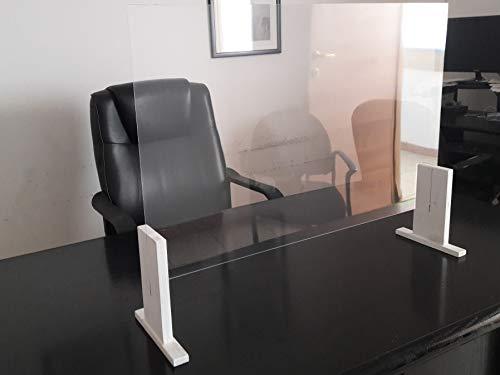 Parafiato in Plexiglass Barriera Protettiva Separatore da banco 100x62 cm Spessore 2,5