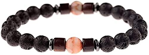 Pulsera china Pulsera hecha a mano Feng Shui Mujer Pulsera de piedra, 7 chakra 8mm Natural Anaranjado Cuarzo Beads Lava Stone Elastic Bangle Bangle Lover Joyería Pray Yoga Energy Reiki Encanto Joyería