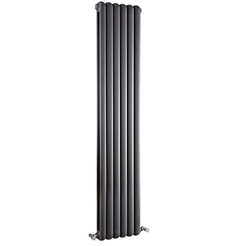 Radiador de Diseño Vertical Doble Tradicional - Antracita - 1800mm x 383mm x 80mm - 1964 Vatios - Saffre