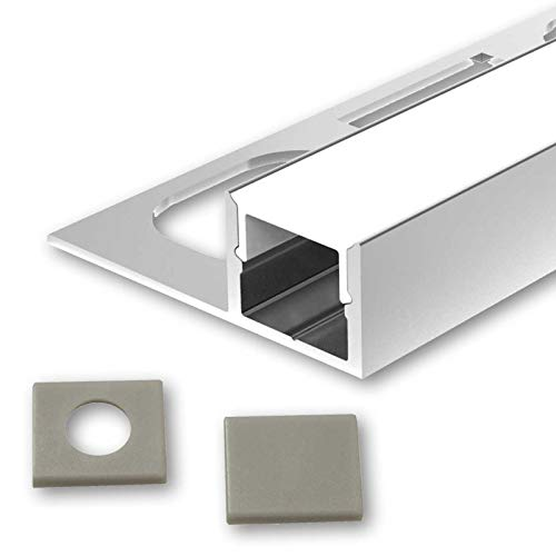 MOLA (MO) Fliesenprofil Aluminium 2m eloxiert | Fliesen-Abschlussleiste für Led Streifen bis 1cm Breite | U-Profil Fliesenschiene + Acryl Abdeckung milchig weiß (opal) + Endkappen |Aluprofil belastbar