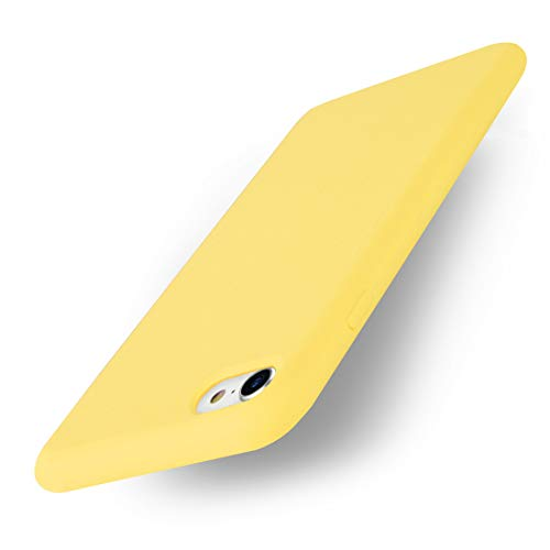 Yajuhoy iPhone 8 Case / iPhone 7 Case, Liquid Silicone Gel Rubber Case Soft Microfiber Cloth Lining Cushion Compatible with Apple iPhone 8 (2017) / iPhone 7 (2016) - Yellow