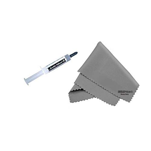 """Arctic Silver 5 (AS5-12G) 12G Polysynthetic Silver Thermal Compound + Microfiber (7"""" X 6"""") Cleaning Cloth"""