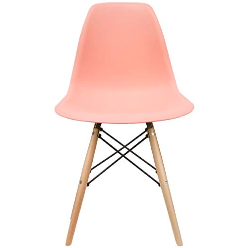 2xhome - Pink - DSW Molded Plastic Shell Bedroom Dining Side Ray Chair with Brown Wood Eiffel Dowel-Legs Base Nature Legs