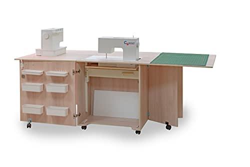 Comfort 1Q+   Mueble para máquina de coser   Armario de costura   (Lakeland Acacia Light, M (Air-Lifter 10kg))