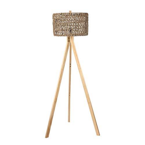 Wood Tripod Floor Lamp with Shefl, Mid Century Modern Rustic...