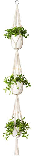 Mkouo Makramee Pflanzenaufhänger 3 Tier Drinnen draußen Hängender Pflanzerkorb Baumwollseil mit Perlen, 178cm