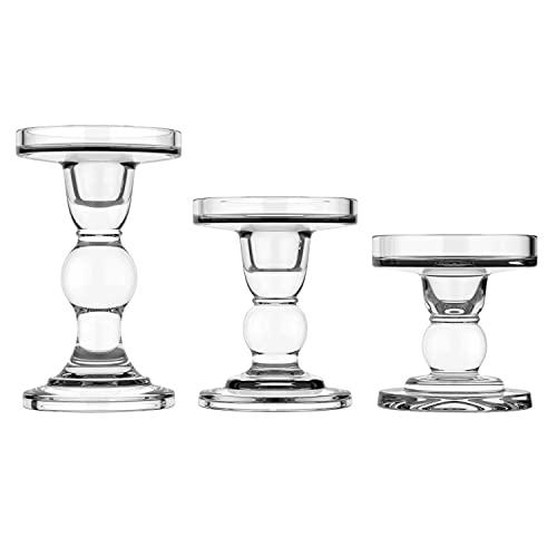 Lewondr [3 PZS Portavelas de Vidrio Cristal Candelabro Columna de Mesa para...