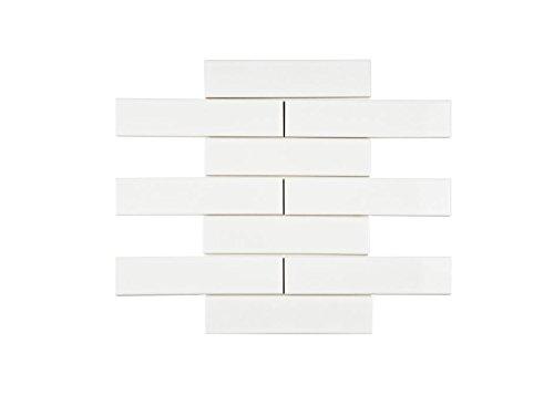 White Subway Porcelain Tile Gloss Finish 2' X 8' ( 88 pieces- Box of 10 Sqft), Wall Tile, Backsplash Tile, Bathroom Tile, Vogue Brand Designed in Italy