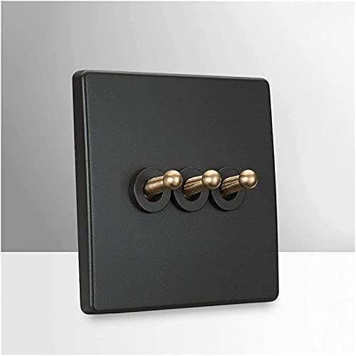 PJDOOJAE Panel de conmutación interruptor de palanca interruptor de palanca interruptor gris retro personalidad de latón palanca interruptor nórdico creativo hogar 86 tipo oculto panel de pared interr