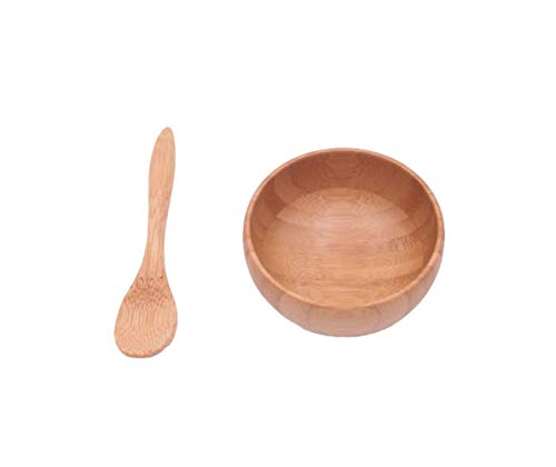 Eco Bamboo Facial Skin Care Mask Bowl Stick Mixing Bowl Spoon Suit Children Bamboo Bowl