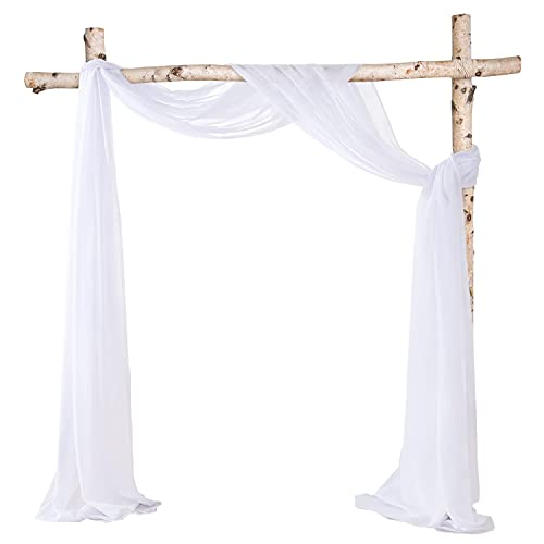 HOMEIDEAS 2 Panels Wedding Arch Drapes Window Scarf Valance 6 Yards White Chiffon Fabric Drapery for Arbor Canopy Bed Ceremony Party Stage Backdrop Ceiling Decor Table Runner