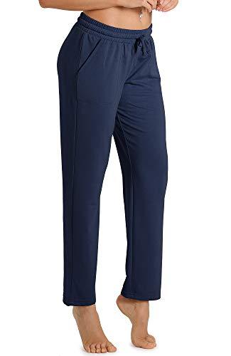 icyzone Pantalones de chándal para mujer, largos, informales, para el tiempo libre, para correr, con cintura azul marino M