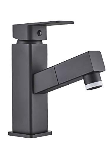 QIMEIM Baño fregadero recipiente grifo lavabo grifos lavabo grifo negro pull type latón caliente y frío grifo para baño cocina grifo