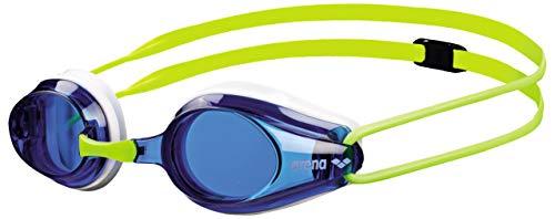 arena Kinder Unisex Training Wettkampf Schwimmbrille Tracks Junior (UV-Schutz, Anti-Fog, Harte Gläser), Blue-White-Fluoyellow (36), One Size