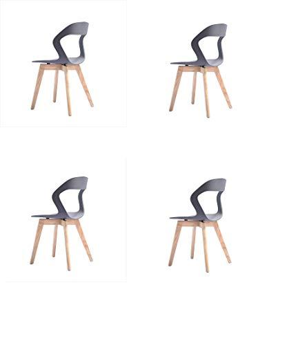 ZSM .Set de 4 sillas de Comedor Modernas Medievales, Patas de Madera de Haya y Estructura de Metal Resistente for Comedor, Cocina, Dormitorio, Sala de Estar, fácil de Montar y Limpiar (Gris) YMIK