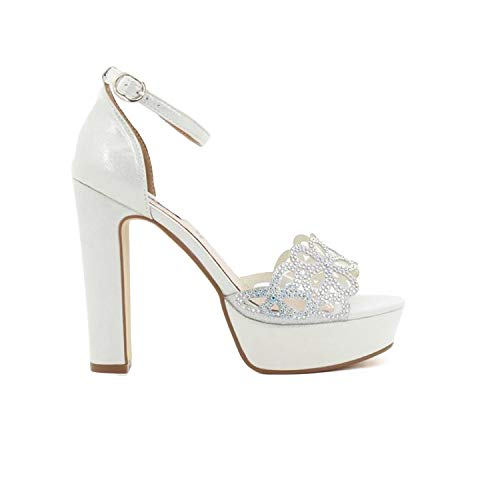 QUEEN HELENA ZM6013 Sandali Eleganti con Tacco Donna Argento 38 EU