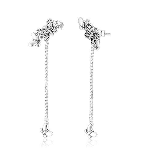 BAKCCI 2019 primavera Bedazzling mariposas pendientes colgantes para mujer plata 925 DIY se adapta a pulseras originales Pandora encanto joyería de moda