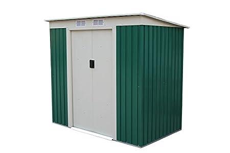 GARDIUN KIS12909 - Caseta Metálica Buckingham 2.43 m² Exterior 121 x 201 x 176 cm Acero Galvanizado Verde