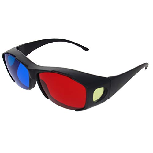 Othmro 3D-Brille mit großem Rahmen aus Kunstharz, einfacher Stil, 3D-Filmspiel, Rot-Blau, 2 Stück
