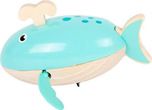 small foot 11659 Wasserspielzeug Aufzieh-Wal aus Holz, Aufziehspielzeug fürs Wasser, für Kinder ab 24 Monaten Spielzeug