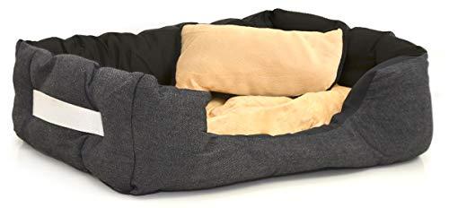 EYEPOWER Katzenbett Hundebett 60x50x18 cm Katzenkissen Hundekissen Waschbar Tierkissen Tierbett Innenkissen Beige-Schwarz