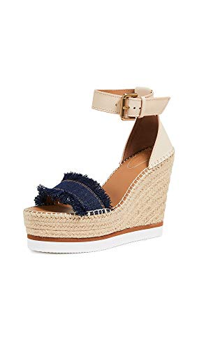 See by Chloe Women's Glyn Wedge Espadrilles, Denim, Blue, Tan, 10 Medium US