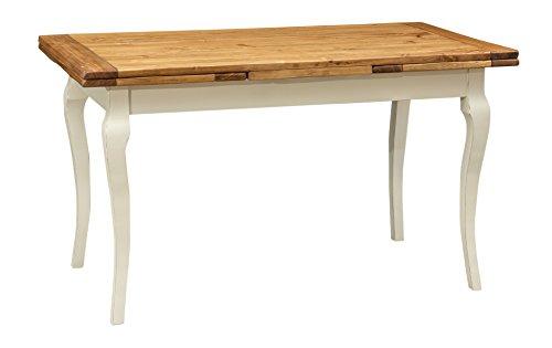 Biscottini Table Extensible en Bois Massif de Tilleul – Style Country – Style Shabby – Structure Blanche vieillie Plan Naturel L 140 x P 80 x H 80 cm