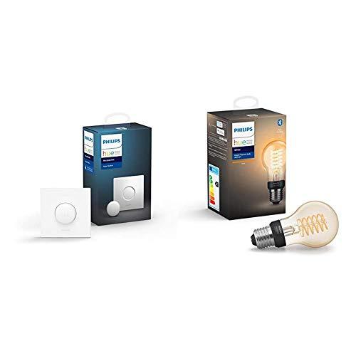 Philips Hue Smart Button bouton télécommande intelligent connecté, variateur de lumière & Ampoule LED Connectée White Filament E27 Forme Standard, Compatible Bluetooth 7 W