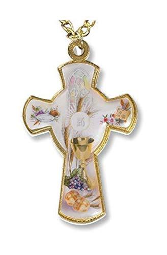Brot des Lebens Kreuz gold Ton mit Epoxy 5,1cm Erste Kommunion Anhänger