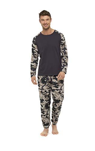 CityComfort Herren-Schlafanzug, super weich, Baumwoll-Mischgewebe, Pyjama-Set für Herren, Nachtwäsche, Loungewear, Trainingsanzug Gr. L, grau camo