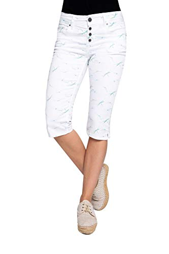 Coccara Damen Capri Hose Non Denim Cropped Slim Fit Curly Button, Größe:W27, Farbe:CN1026 - White