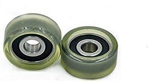 2pcs 10X36X16mm PU Polyurethane Rubber Bearing Pinch Roller Pulley Machine Wheel Inner Diameter: 10mm; Outer Diameter: 36mm; Width: 16mm